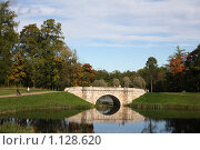 Купить «Гатчина. Карпин мост в осеннем парке», фото № 1128620, снято 25 сентября 2009 г. (c) Наталья Белотелова / Фотобанк Лори