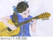 Купить «Девочка с гитарой, рисунок», иллюстрация № 1135920 (c) Ольга Лерх Olga Lerkh / Фотобанк Лори
