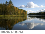 Купить «Валдайский национальный парк. Озеро Боровно. Осенний пейзаж», фото № 1145712, снято 10 октября 2009 г. (c) Роман Сибиряков / Фотобанк Лори