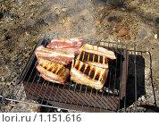 Свинина на гриле. Пикник на природе. Стоковое фото, фотограф Олег Федулов / Фотобанк Лори
