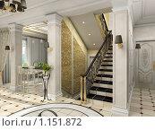 Купить «Интерьер холла с лестницей. Классический стиль. Рендеринг», иллюстрация № 1151872 (c) Майер Георгий Владимирович / Фотобанк Лори