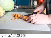 Купить «Приготовление супа: нарезка моркови», фото № 1155648, снято 17 сентября 2008 г. (c) Лилия Барладян / Фотобанк Лори