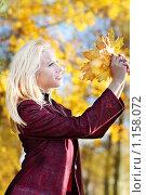 Купить «Красивая девушка в осеннем парке», фото № 1158072, снято 15 октября 2009 г. (c) Майя Крученкова / Фотобанк Лори