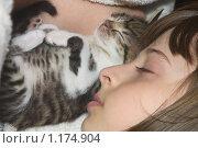 Купить «Спящая девочка с котенком», фото № 1174904, снято 6 мая 2009 г. (c) Павел Савин / Фотобанк Лори