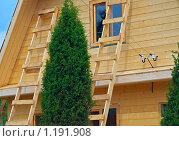 Купить «Строительство дачного домика», фото № 1191908, снято 2 июля 2009 г. (c) Елена Галачьянц / Фотобанк Лори