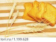 Купить «Четыре тоста и колосья на деревянной доске», фото № 1199628, снято 17 февраля 2007 г. (c) Elnur / Фотобанк Лори