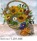 Купить «Корзина с садовыми и полевыми цветами, рисунок», иллюстрация № 1201448 (c) Ольга Лерх Olga Lerkh / Фотобанк Лори