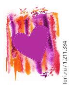 Рамка с акварелью сердцем и ветками. Стоковая иллюстрация, иллюстратор Екатерина Букреева / Фотобанк Лори
