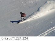 Сноубордист катается на склоне горы. Стоковое фото, фотограф Шестихин Сергей / Фотобанк Лори
