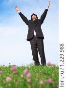 Купить «Бизнесмен поднял руки кверху», фото № 1229988, снято 12 июня 2009 г. (c) Losevsky Pavel / Фотобанк Лори