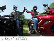 Купить «Два мотоциклиста на мотоциклах», фото № 1231288, снято 9 сентября 2009 г. (c) Losevsky Pavel / Фотобанк Лори