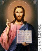 Купить «Икона Иисуса Христа с открытой Библией», фото № 1237632, снято 3 ноября 2009 г. (c) Дмитрий Калиновский / Фотобанк Лори