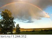 Купить «Радуга во всё небо над рекой», фото № 1244312, снято 4 июня 2009 г. (c) Елена Ильина / Фотобанк Лори