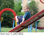 Купить «Мальчик на детской площадке», фото № 1247852, снято 15 июня 2009 г. (c) Землянникова Вероника / Фотобанк Лори