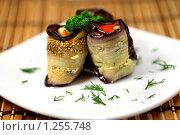 Купить «Аппетитные роллы из баклажанов», фото № 1255748, снято 28 октября 2009 г. (c) ElenArt / Фотобанк Лори