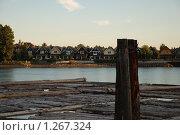 Купить «Сплав бревен по реке», фото № 1267324, снято 10 сентября 2009 г. (c) Олеся Ефименко / Фотобанк Лори