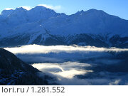 Освещенные солнцем облака среди вершин гор, Альпы. Стоковое фото, фотограф Васильева Татьяна / Фотобанк Лори