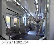 Купить «Интерьер скоростного пригородного поезда. Испания, Барселона», фото № 1282764, снято 3 сентября 2008 г. (c) Vitas / Фотобанк Лори