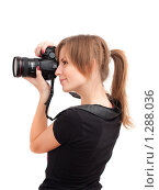 Девушка с фотокамерой. Стоковое фото, фотограф Петр Кириллов / Фотобанк Лори