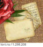 Купить «Фон с розой и нотами», иллюстрация № 1298208 (c) Gatteriya / Фотобанк Лори