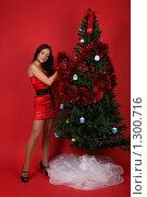 Купить «Девушка у новогодней елки», фото № 1300716, снято 6 декабря 2009 г. (c) Евгений Батраков / Фотобанк Лори