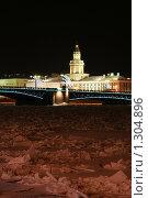 Купить «Вид на здание Кунсткамеры зимней ночью», фото № 1304896, снято 16 декабря 2009 г. (c) Александр Секретарев / Фотобанк Лори