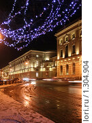 Купить «Дворцовая набережная зимней ночью», фото № 1304904, снято 16 декабря 2009 г. (c) Александр Секретарев / Фотобанк Лори