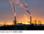 Купить «Трубы на фоне заката экология предприятие», фото № 1309344, снято 19 декабря 2009 г. (c) Алексей Ширманов / Фотобанк Лори