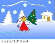 Купить «Веселая девочка с новогодней елкой на заснеженной улице. Фон для поздравительной открытки», иллюстрация № 1310964 (c) Алексей Лебедев-Реллер / Фотобанк Лори