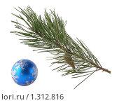Ветвь сосны с шишкой и голубым шариком. Стоковое фото, фотограф Дамир Фахретдинов / Фотобанк Лори
