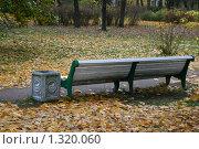 Купить «Скамейка на Елагином острове поздней осенью», фото № 1320060, снято 29 октября 2009 г. (c) Александр Секретарев / Фотобанк Лори