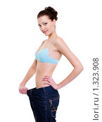 Купить «Девушка показывает, насколько она похудела», фото № 1323908, снято 5 декабря 2009 г. (c) Валуа Виталий / Фотобанк Лори