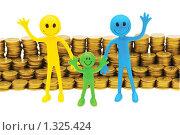 Купить «Стопка монет и семья на белом фоне», фото № 1325424, снято 22 февраля 2009 г. (c) Elnur / Фотобанк Лори