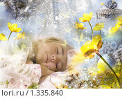 Купить «Маленькая девочка видит сны. Коллаж», иллюстрация № 1335840 (c) Алексей Кузнецов / Фотобанк Лори