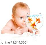 Купить «Ребёнок и золотые  рыбки», фото № 1344360, снято 19 сентября 2018 г. (c) Андрей Армягов / Фотобанк Лори