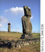 Купить «Каменные истуканы на острове Пасхи», фото № 1344536, снято 22 апреля 2019 г. (c) Leksele / Фотобанк Лори