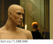 Мужской манекен и фигура девушки на заднем плане. Стоковое фото, фотограф Сергей Рыбин / Фотобанк Лори