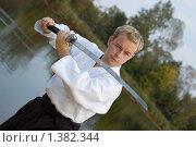 Купить «Самурай с мечом», фото № 1382344, снято 1 октября 2006 г. (c) Andrejs Pidjass / Фотобанк Лори