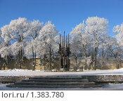 Купить «Памятник Победы с вечным огнем в Пскове в зимний морозный день», фото № 1383780, снято 14 января 2010 г. (c) Валентина Троль / Фотобанк Лори