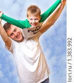 Купить «Счастливые сын и отец», фото № 1383992, снято 10 февраля 2007 г. (c) Andrejs Pidjass / Фотобанк Лори