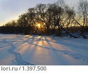 Купить «Зимний морозный закат», фото № 1397500, снято 4 января 2009 г. (c) Самойлова Екатерина / Фотобанк Лори
