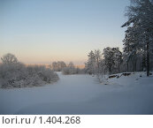 Купить «Заснеженная река Луга», фото № 1404268, снято 3 января 2010 г. (c) Юлия Козинец / Фотобанк Лори