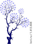 Весеннее дерево с птичками. Стоковая иллюстрация, иллюстратор Светлана Арешкина / Фотобанк Лори
