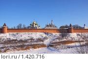 Вид на Спасо-Ефимиев монастырь со стороны реки зимой (2010 год). Редакционное фото, фотограф Инна Додица / Фотобанк Лори