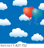 Купить «Воздушные шарики в виде сердец на фоне неба с облаками», иллюстрация № 1427152 (c) Boroda / Фотобанк Лори
