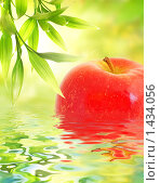 Купить «Красное яблоко в воде и ветки бамбука», фото № 1434056, снято 23 января 2018 г. (c) Andrejs Pidjass / Фотобанк Лори