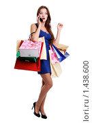 Купить «Шопинг - красивая молодая девушка с покупками в руках», фото № 1438600, снято 14 ноября 2009 г. (c) Андрей Аркуша / Фотобанк Лори