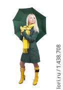 Купить «Девушка с зеленым зонтом», фото № 1438708, снято 13 октября 2009 г. (c) Яков Филимонов / Фотобанк Лори