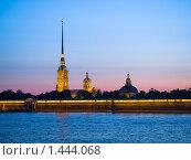 Купить «Петропавловская крепость ночью», фото № 1444068, снято 5 июля 2009 г. (c) Александр Кузовлев / Фотобанк Лори
