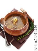 Купить «Гороховый суп с ржаным хлебом и укропом на белом фоне», фото № 1461656, снято 31 января 2010 г. (c) Mariya Volik / Фотобанк Лори